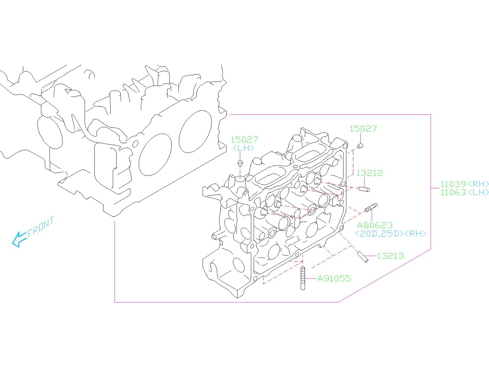 2018 Subaru Crosstrek Head Cylinder. (Right). Engine ...