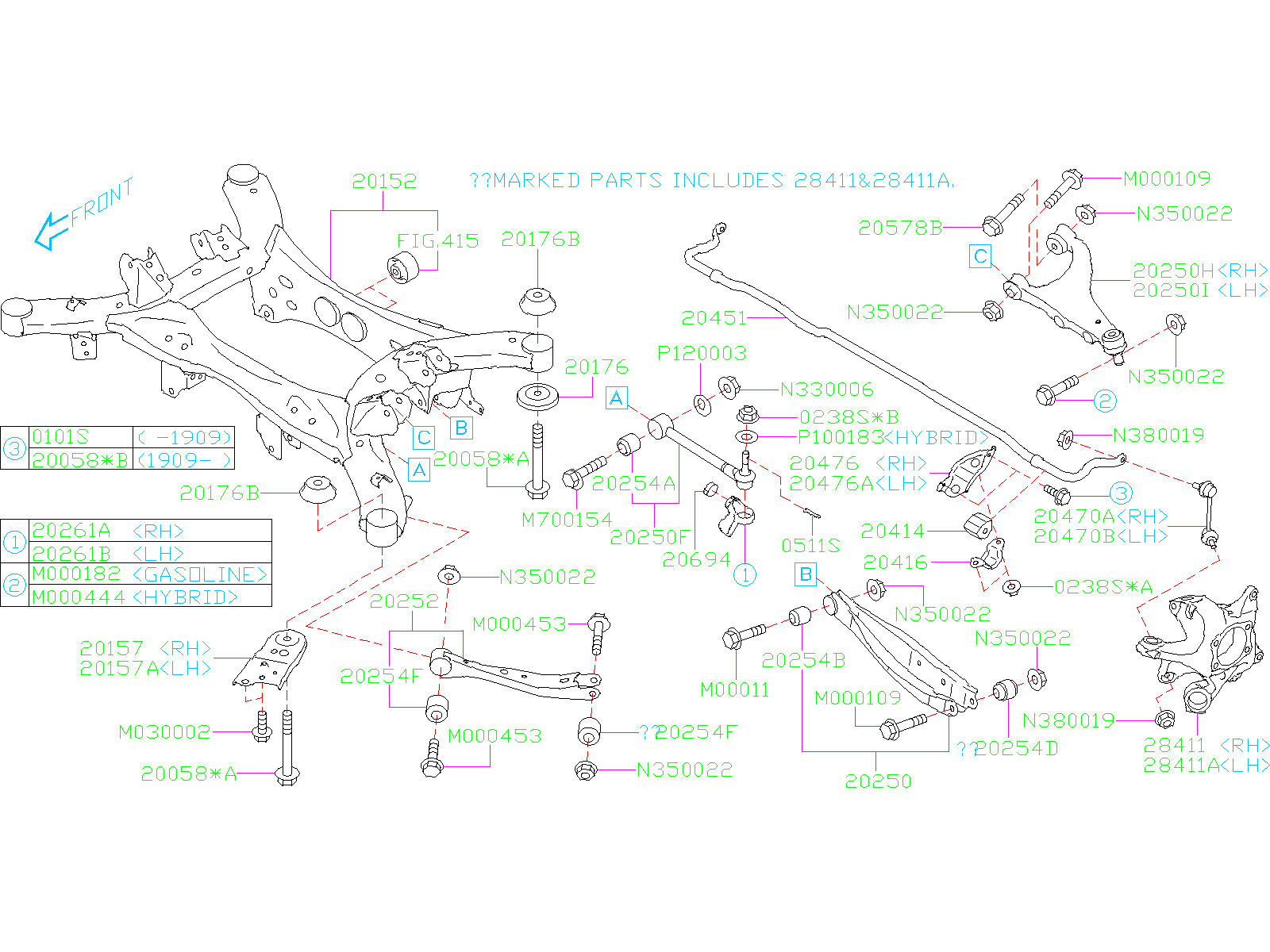 Diagram REAR SUSPENSION. for your 2019 Subaru Crosstrek 2.0L HYBRID CVT Premium w/Eyesight