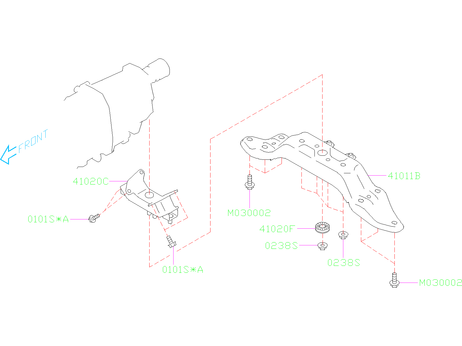 Diagram ENGINE MOUNTING. REAR. for your 2019 Subaru Crosstrek 2.0L CVT Premium Plus w/EyeSight
