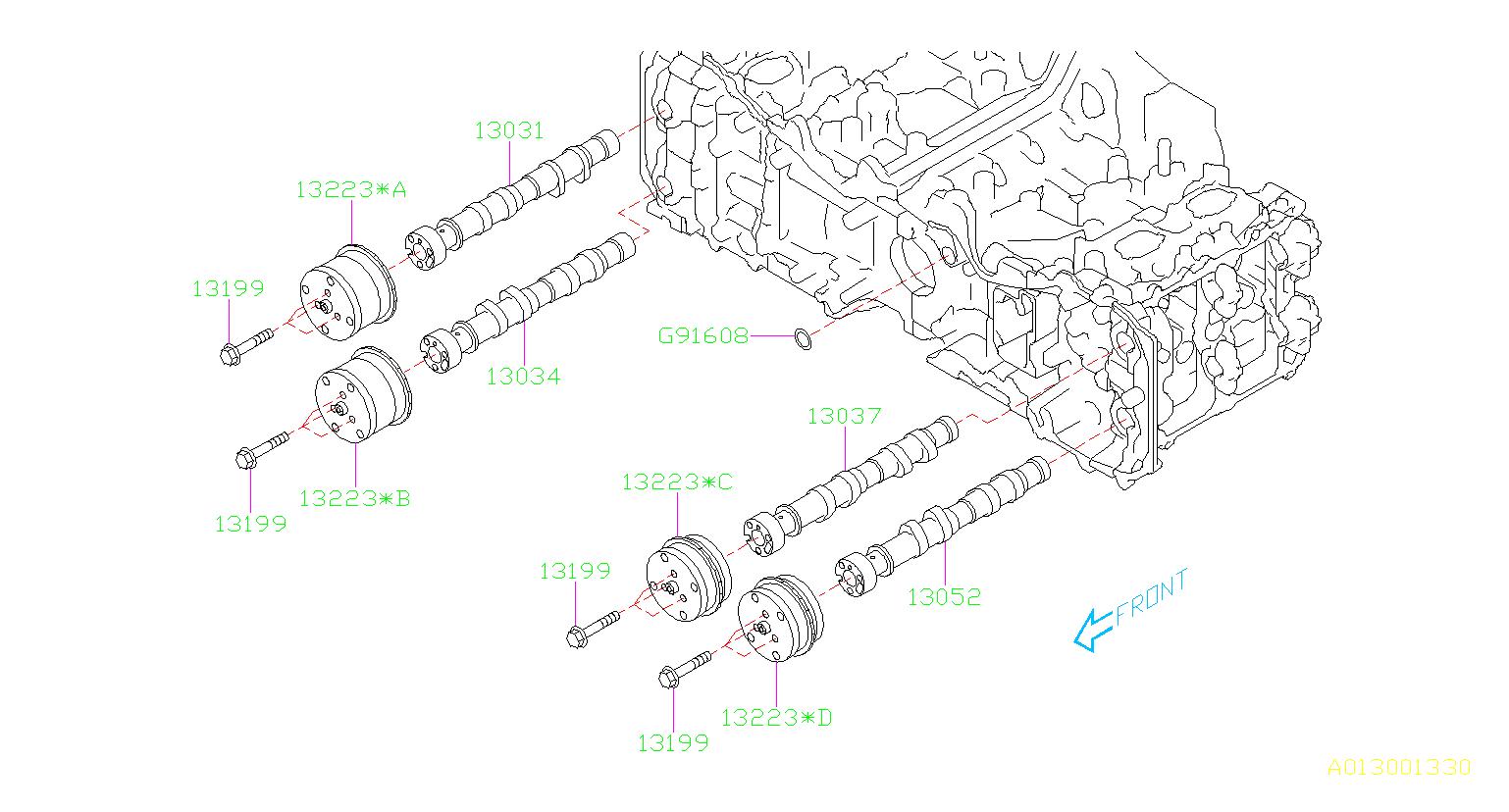13323aa011 - sprocket assembly-camshaft  timing  engine  cooling  belt