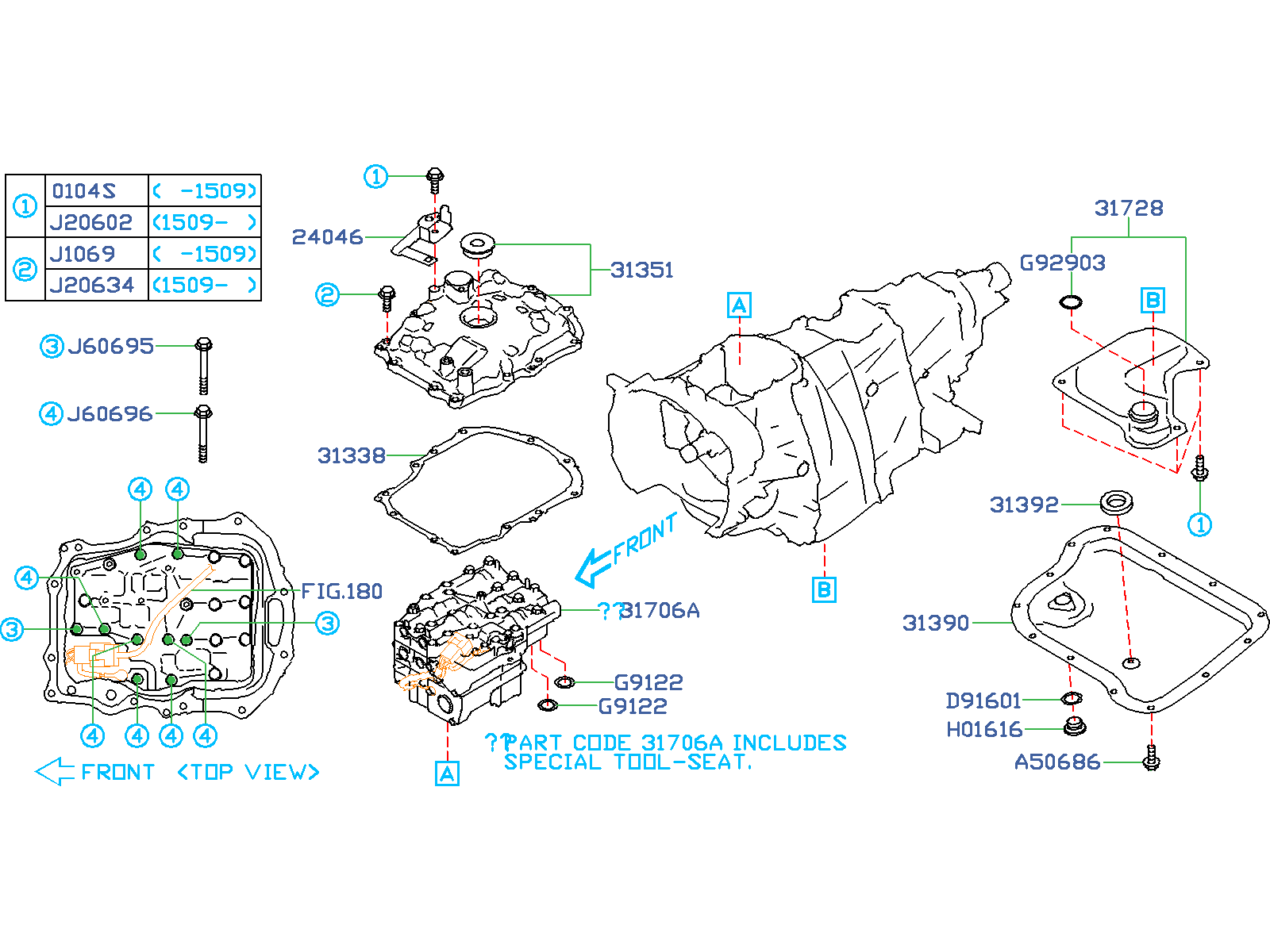 Diagram AT, CONTROL VALVE. '14MY-'16MY. for your 2000 Subaru WRX