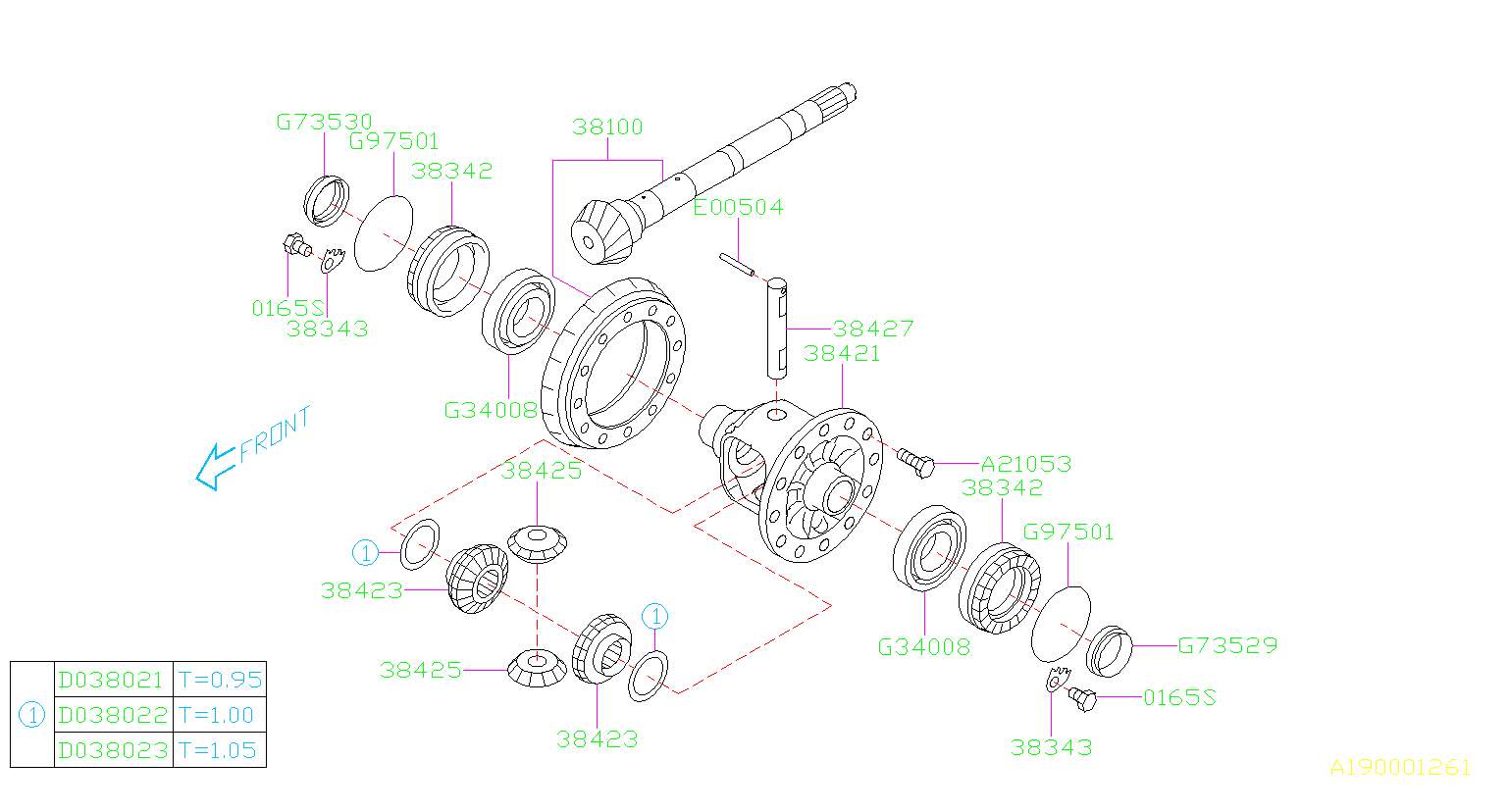2016 Subaru Crosstrek Differential Side Gear  Transmission