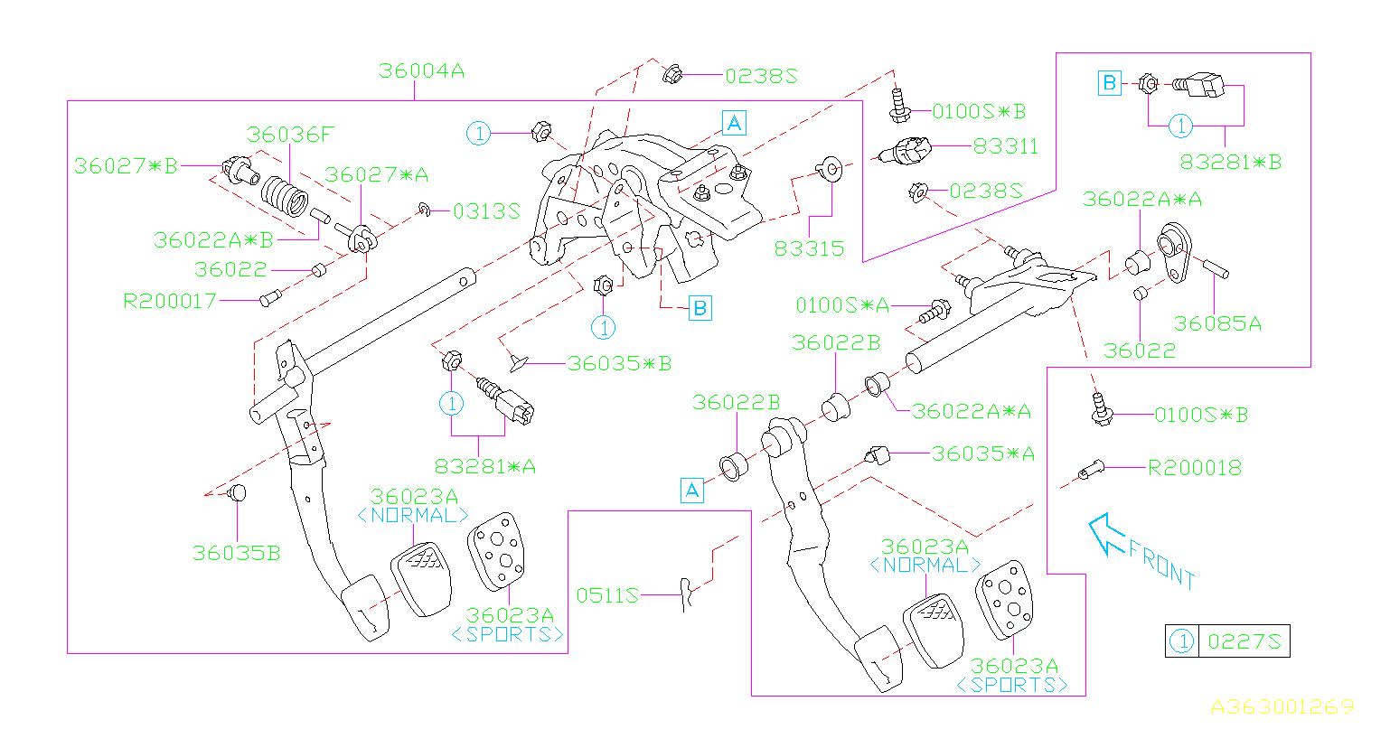 2015 Subaru Crosstrek Clutch Starter Safety Switch  Pedal  System  Brake - 83281aa000