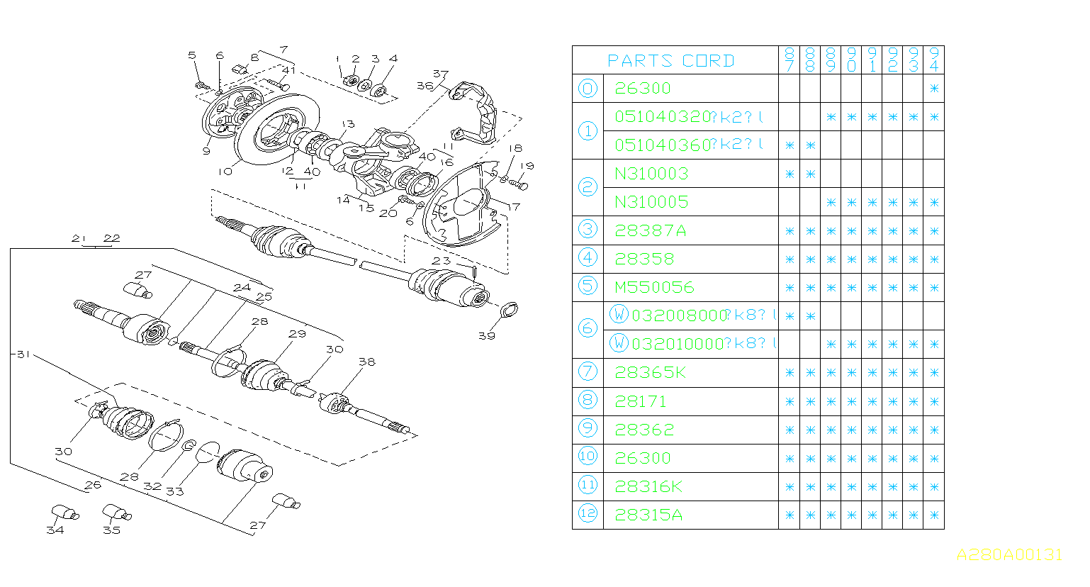 Diagram FRONT AXLE. for your Subaru