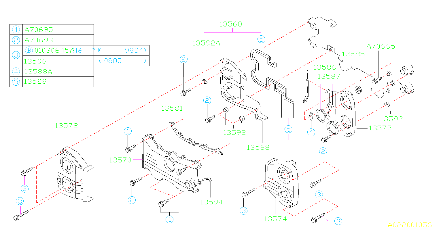 13572aa043 - Engine Timing Cover  Right