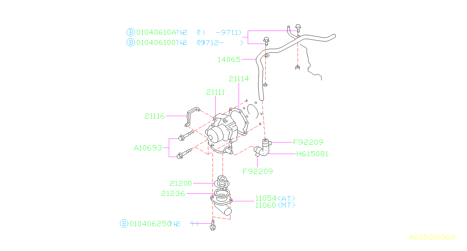 Diagram WATER PUMP. for your 2000 Subaru Forester 2.5L MANUAL L