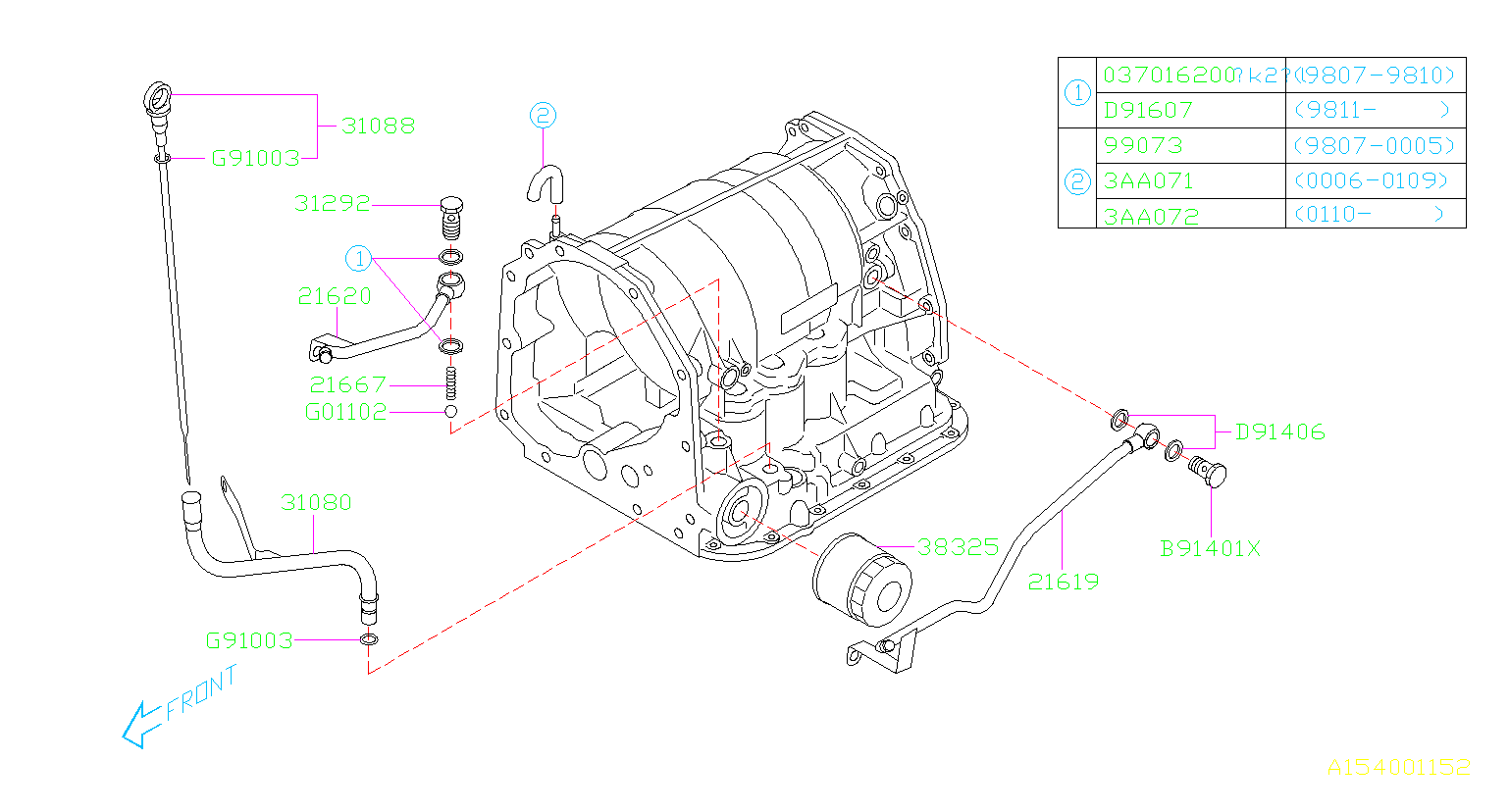 Diagram AT, TRANSMISSION CASE. FITTING. for your 2000 Subaru Forester 2.5L AT L