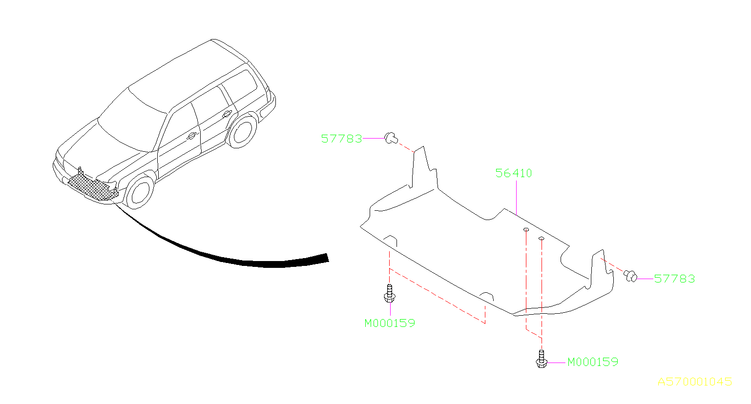Diagram UNDER GUARD. for your 2000 Subaru Forester