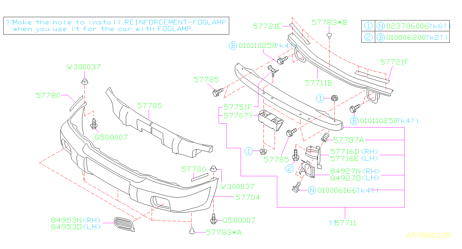 Diagram FRONT BUMPER. for your 2000 Subaru Forester