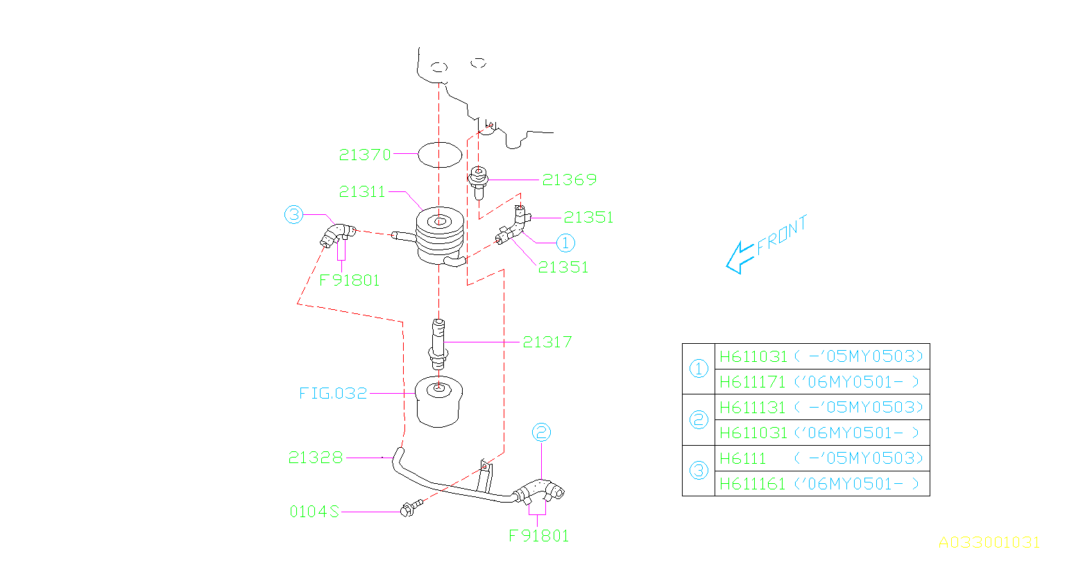 Diagram OIL COOLER (ENGINE). '03MY-'06MY. for your 2014 Subaru Impreza