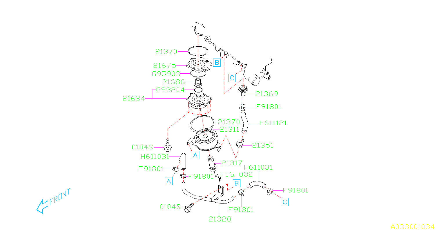 Diagram OIL COOLER (ENGINE). for your 2014 Subaru Impreza