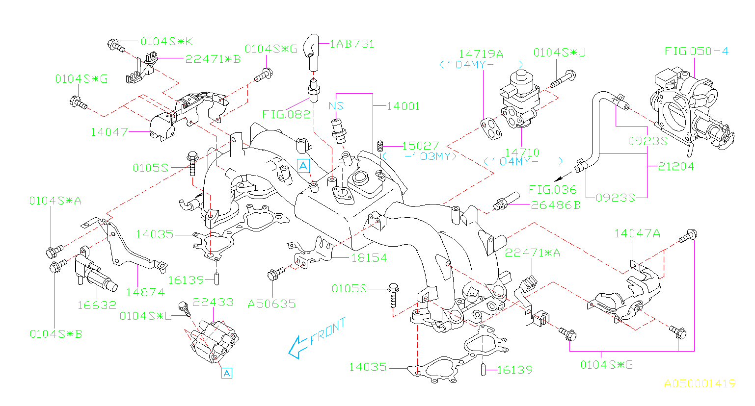 Diagram INTAKE MANIFOLD. INTAKE MANIFOLD '03MY-'04MY. for your Subaru