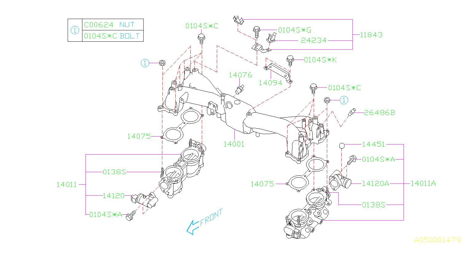 2004 Subaru Forester Engine Intake Manifold Gasket  Body