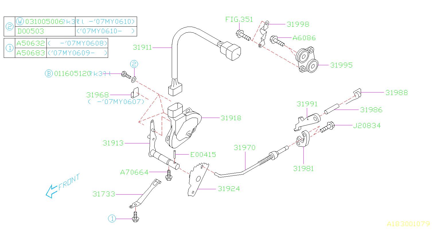 2005 Subaru Forester Automatic Transmission Gear Position Sensor  Device  Control  Inhibitor