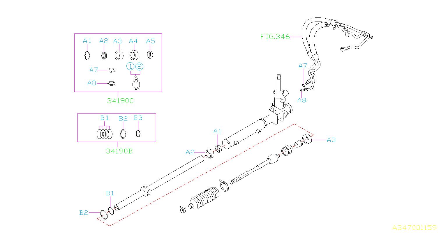 34191sa010 - Rack And Pinion Seal Kit  Repair Kit Gear Box  Steering  Valve  Power