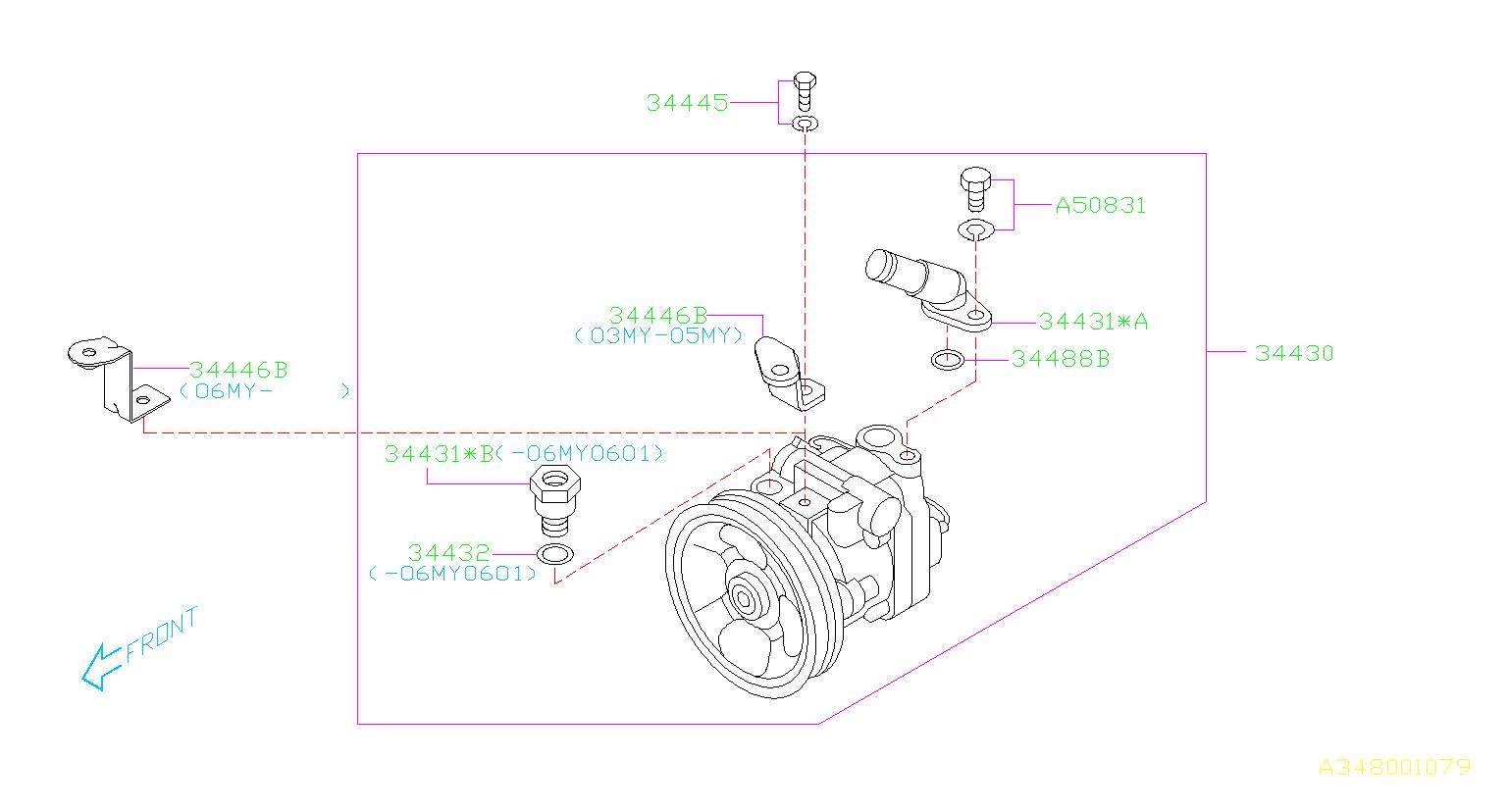 2004 Subaru Forester Power Steering Pump  Oil