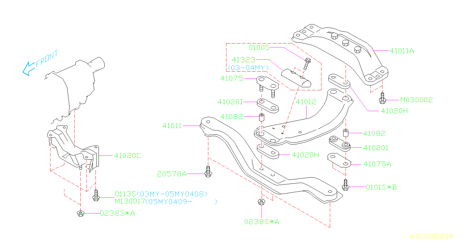 Diagram ENGINE MOUNTING. REAR. for your 2005 Subaru Forester 2.5L MANUAL X