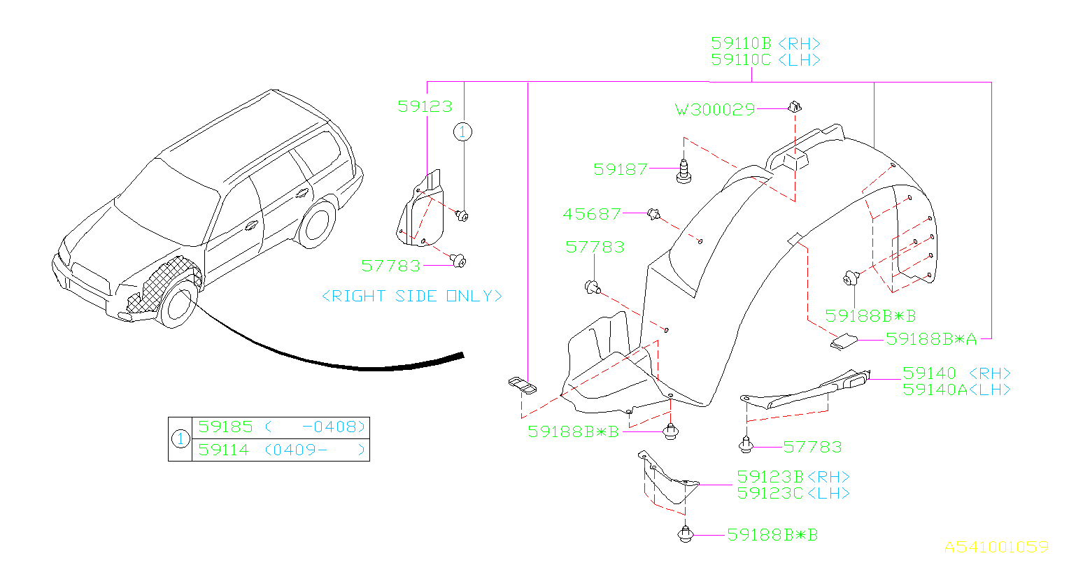 Diagram MUDGUARD. for your Subaru