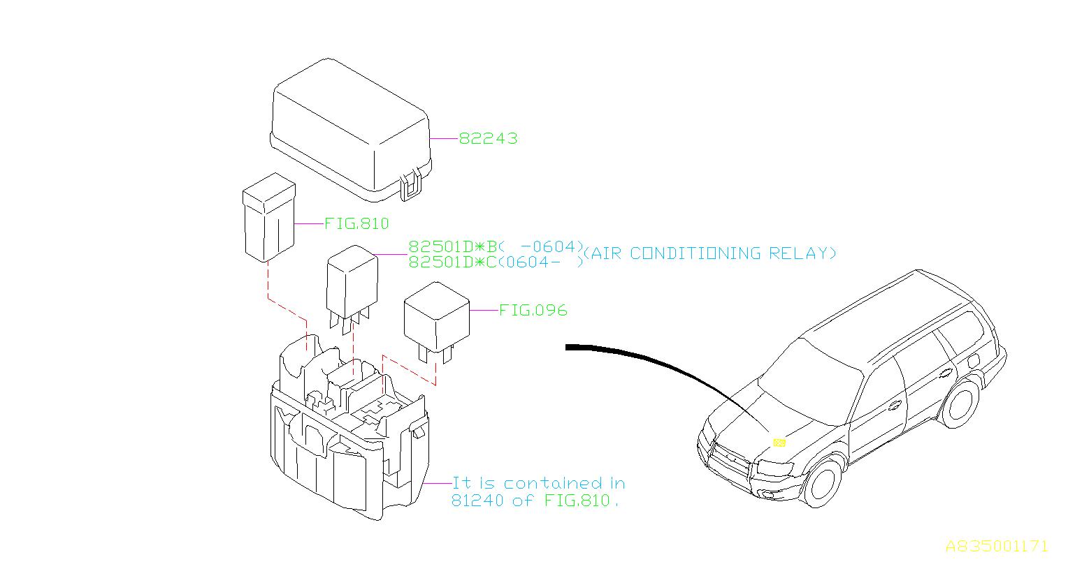 2005 Subaru Forester Relay  Electrical  Body  Control - 82501ae03a