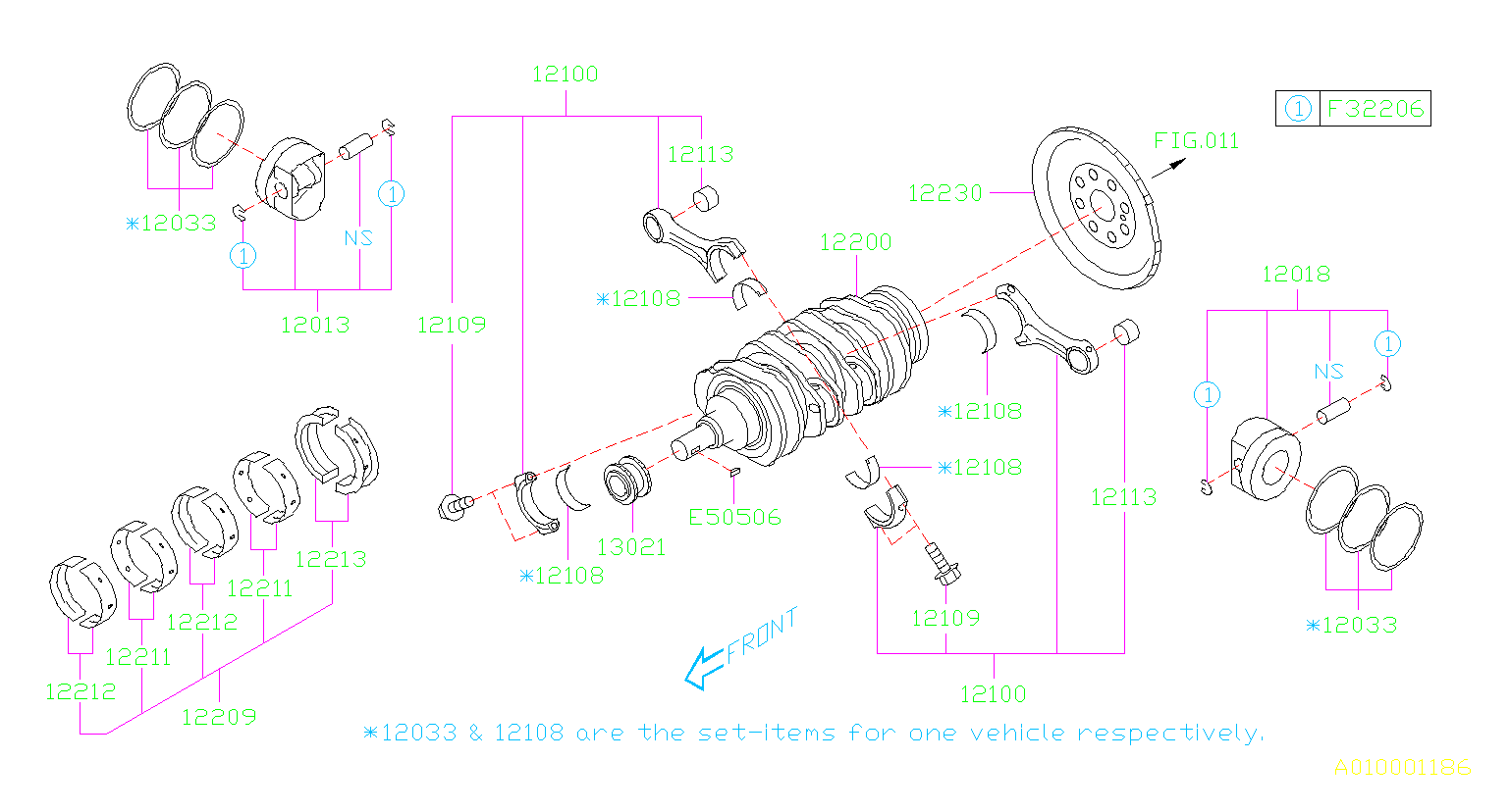 2011 Subaru Forester 2 5l 4at X Premium Crankshaft