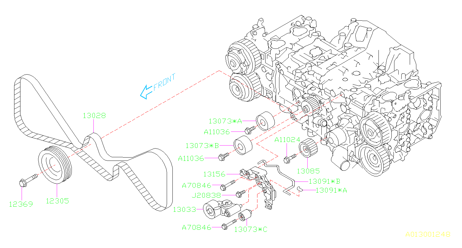 2013 Subaru Forester Engine Crankshaft Pulley
