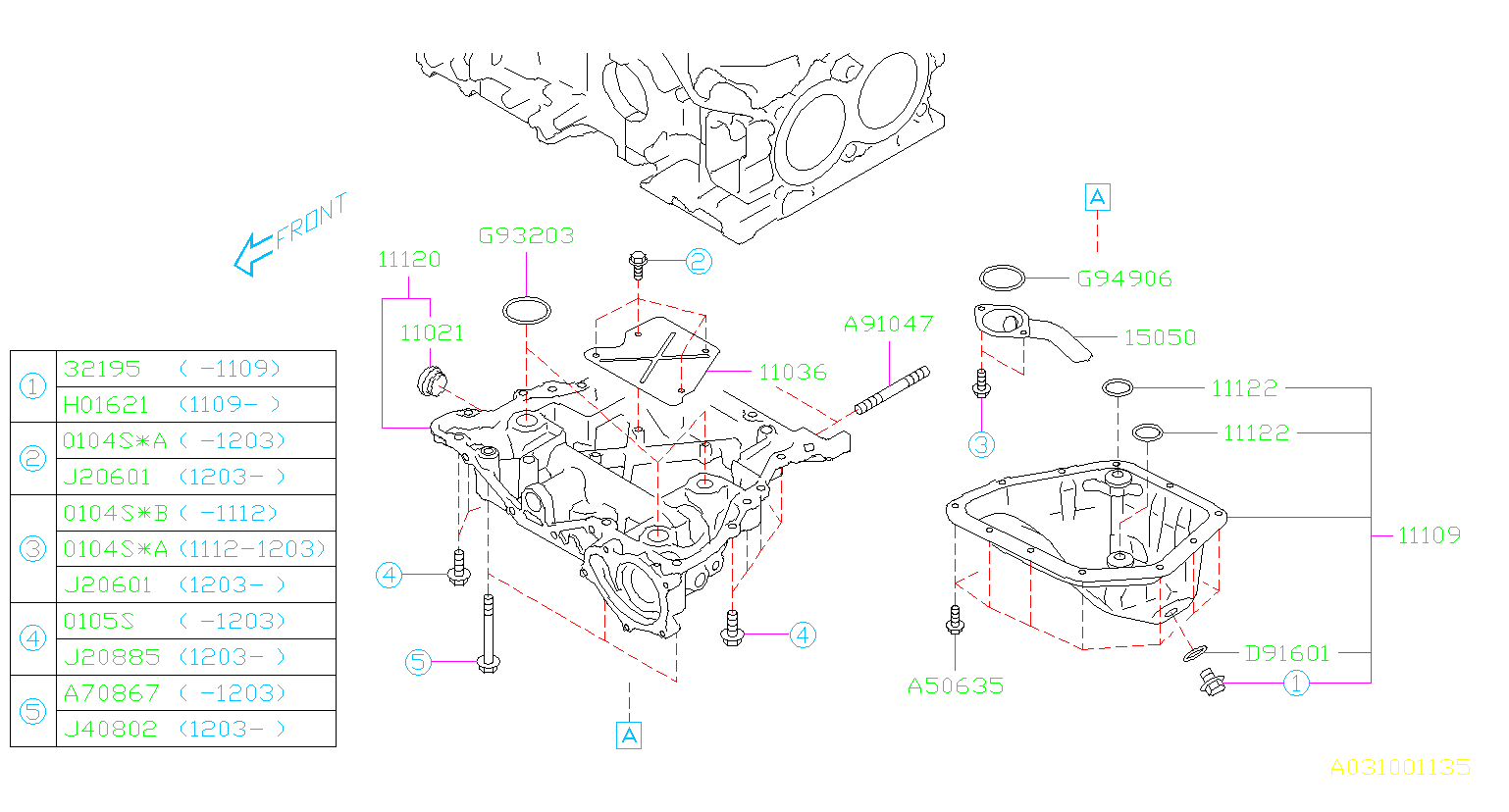 Diagram OIL PAN. '11MY-. for your Subaru