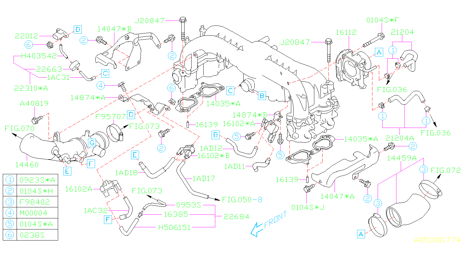 14459AA660 - Duct assembly-air intake. Manifold, throttle ...