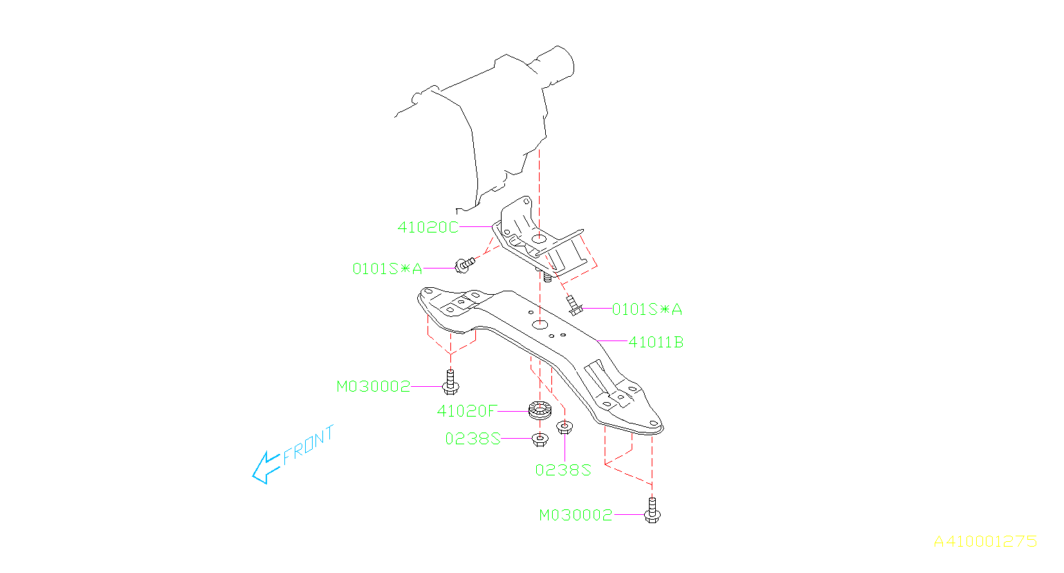 Diagram ENGINE MOUNTING. REAR SS. for your 2011 Subaru Forester 2.5L 4AT X