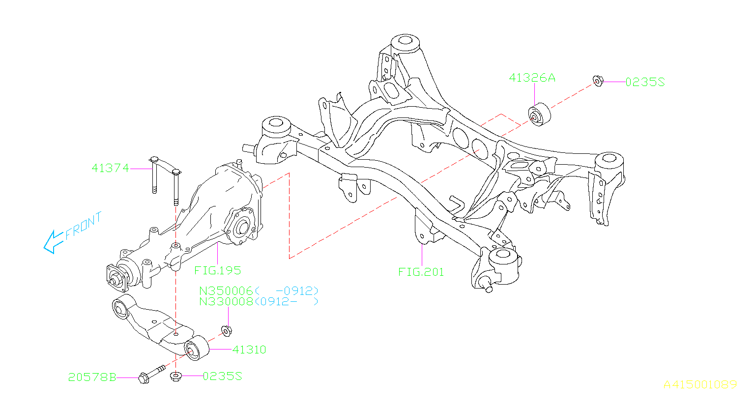 Diagram DIFFERENTIAL MOUNTING. for your 2013 Subaru Forester 2.5L TURBO 4AT XT Touring Limited Plus