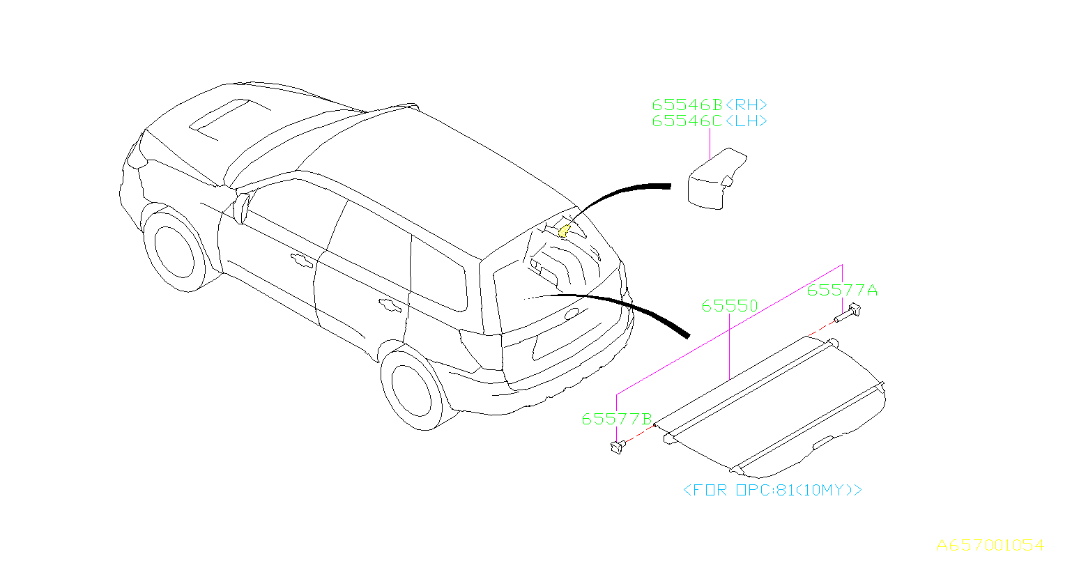 Diagram TONNEAU COVER. for your 2000 Subaru Forester  S