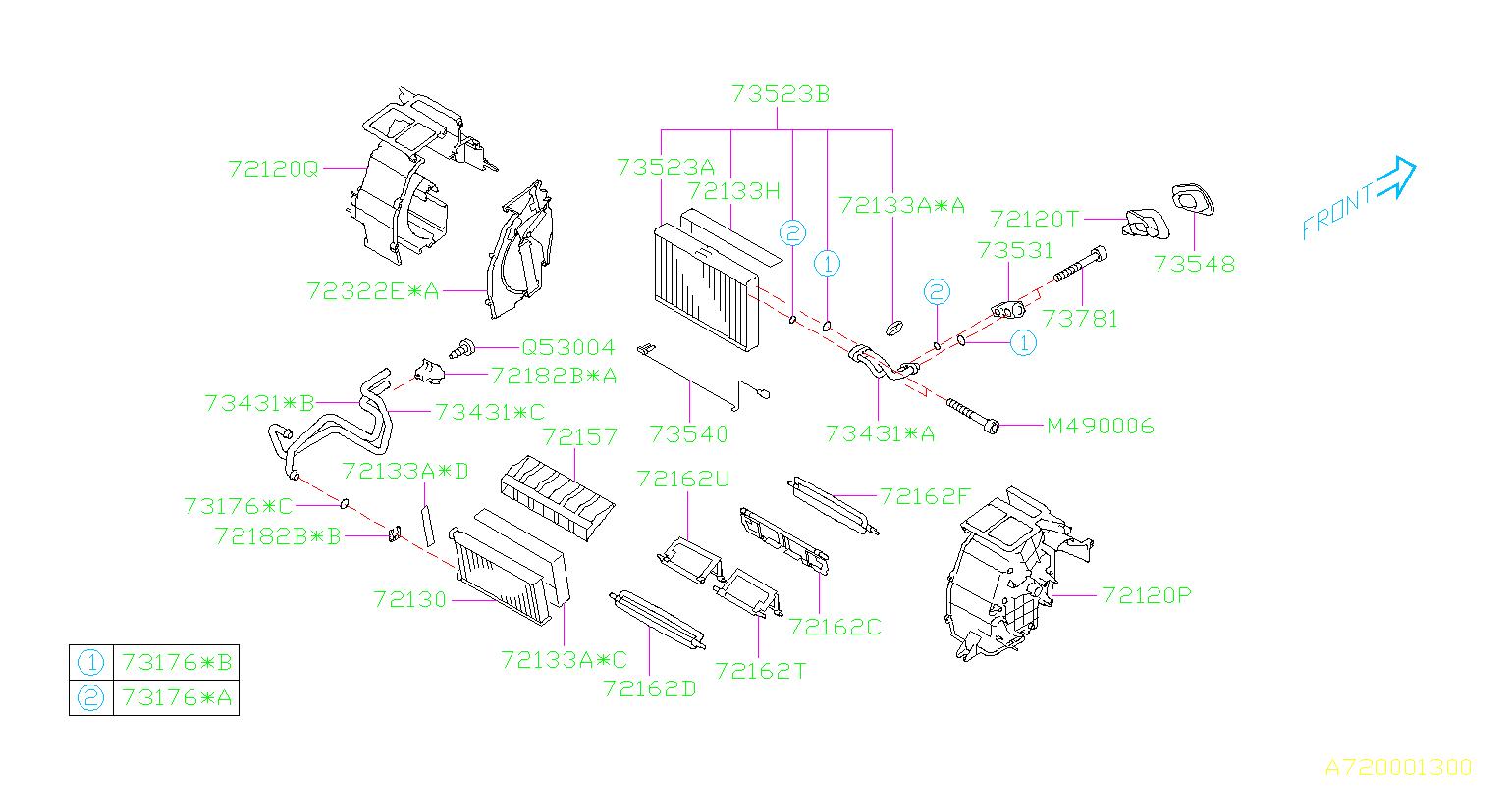 Subaru Forester A/c evaporator core - 73523FG051 - Genuine ...