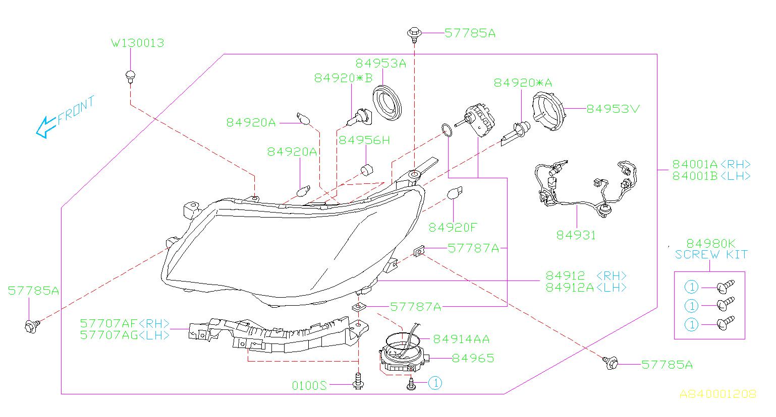 84931sc030 - Headlight Wiring Harness