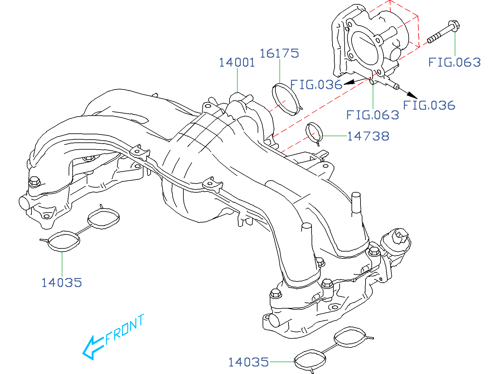 14035aa620 - gasket-intake manifold  body  throttle  engine  cooling