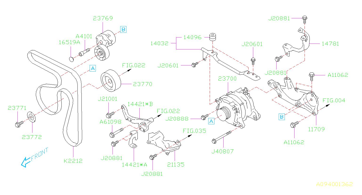 Subaru Forester Alternator  Body  Battery  System - 23700ab030