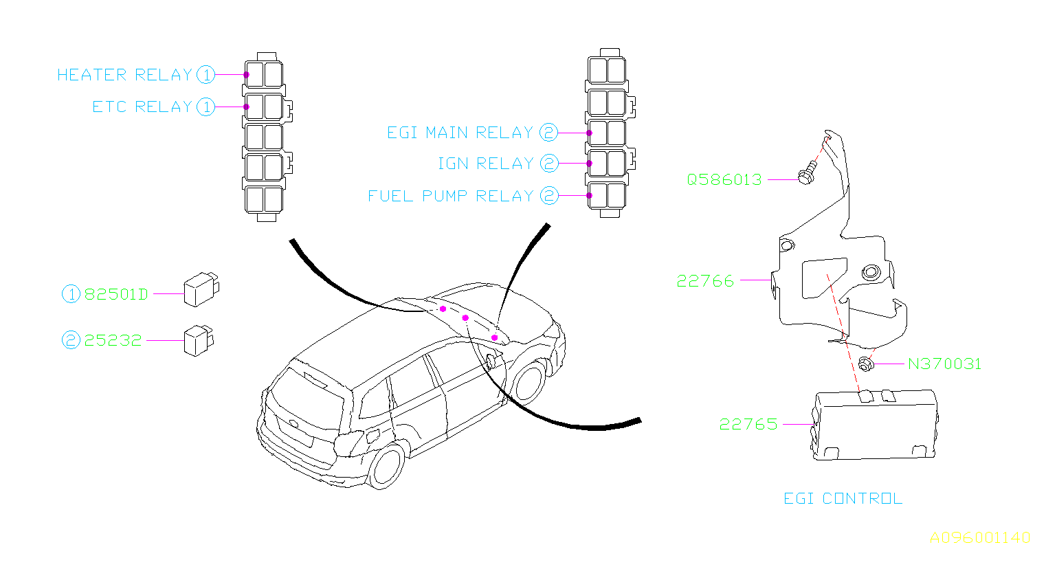 2015 Subaru Forester Relay  Electrical  Body  Control
