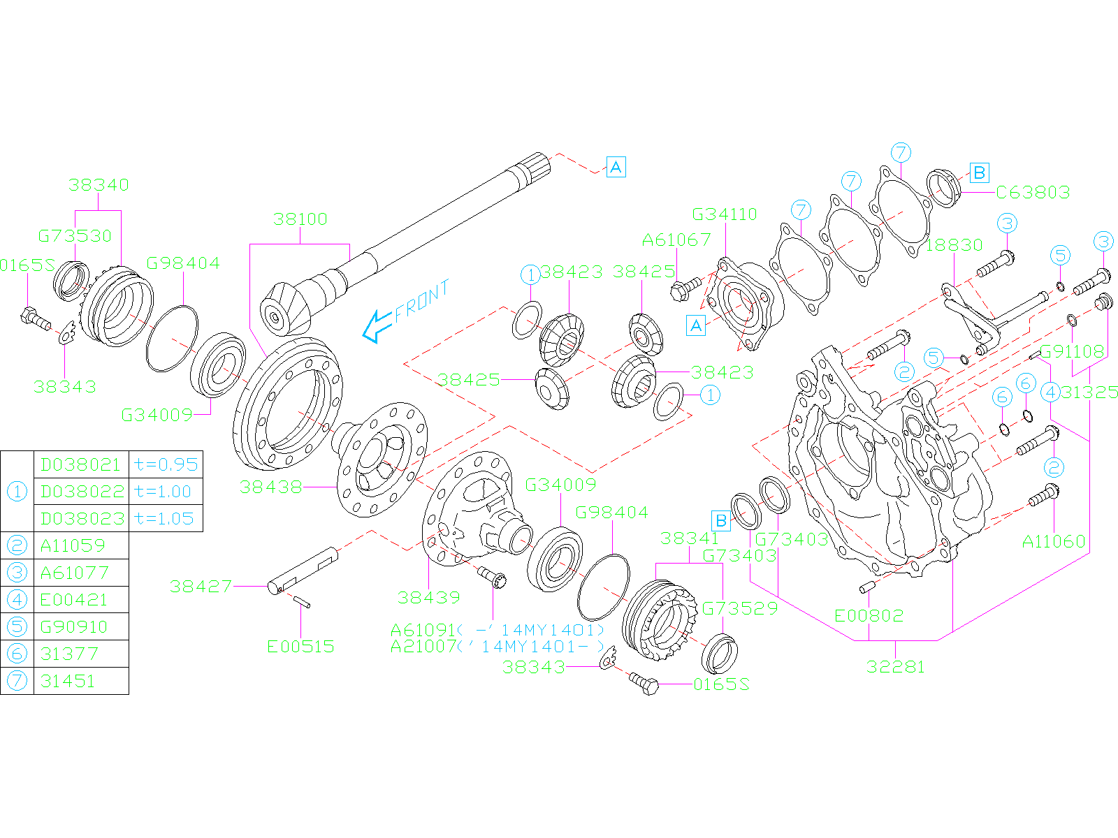 38100ac000 - Manual Transmission Differential