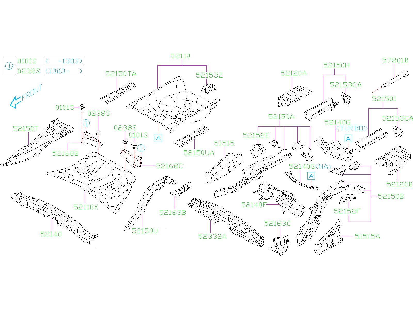 2018 Subaru Forester Spare Tire Compartment Bracket