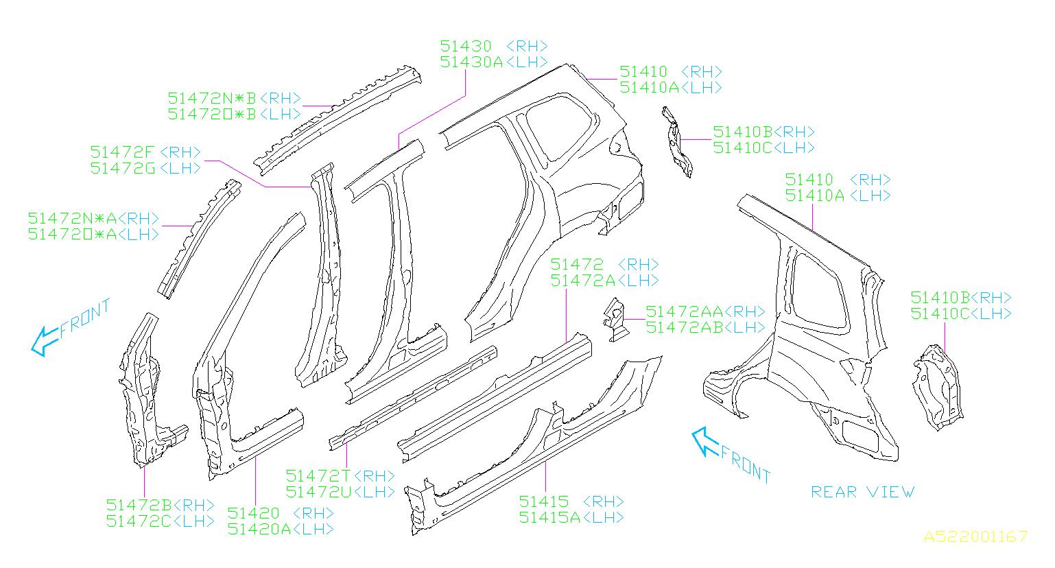 2015 Subaru Forester Tail Light Pocket  Right  Rear