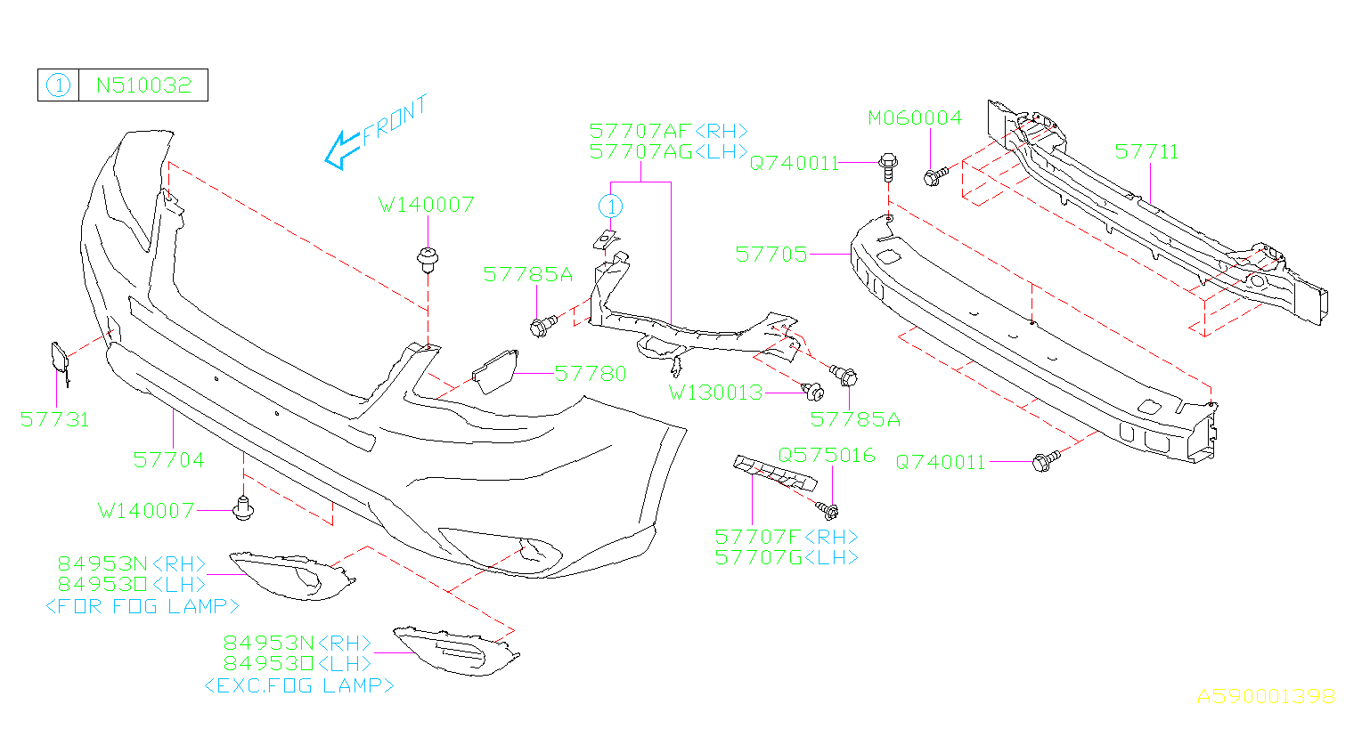 Diagram FRONT BUMPER. -'16MY. for your Subaru