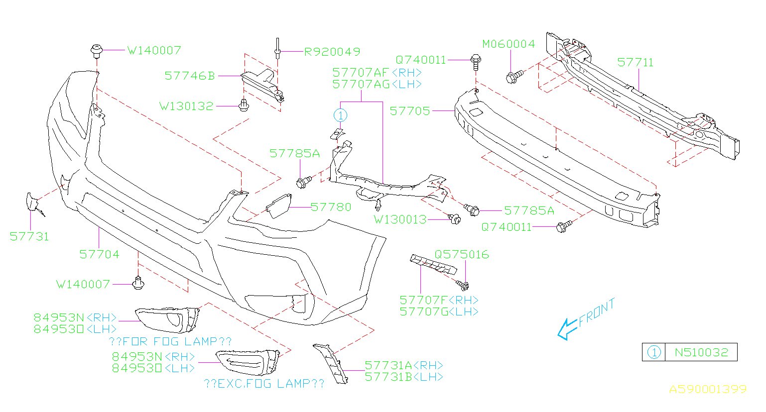 Diagram FRONT BUMPER. for your Subaru