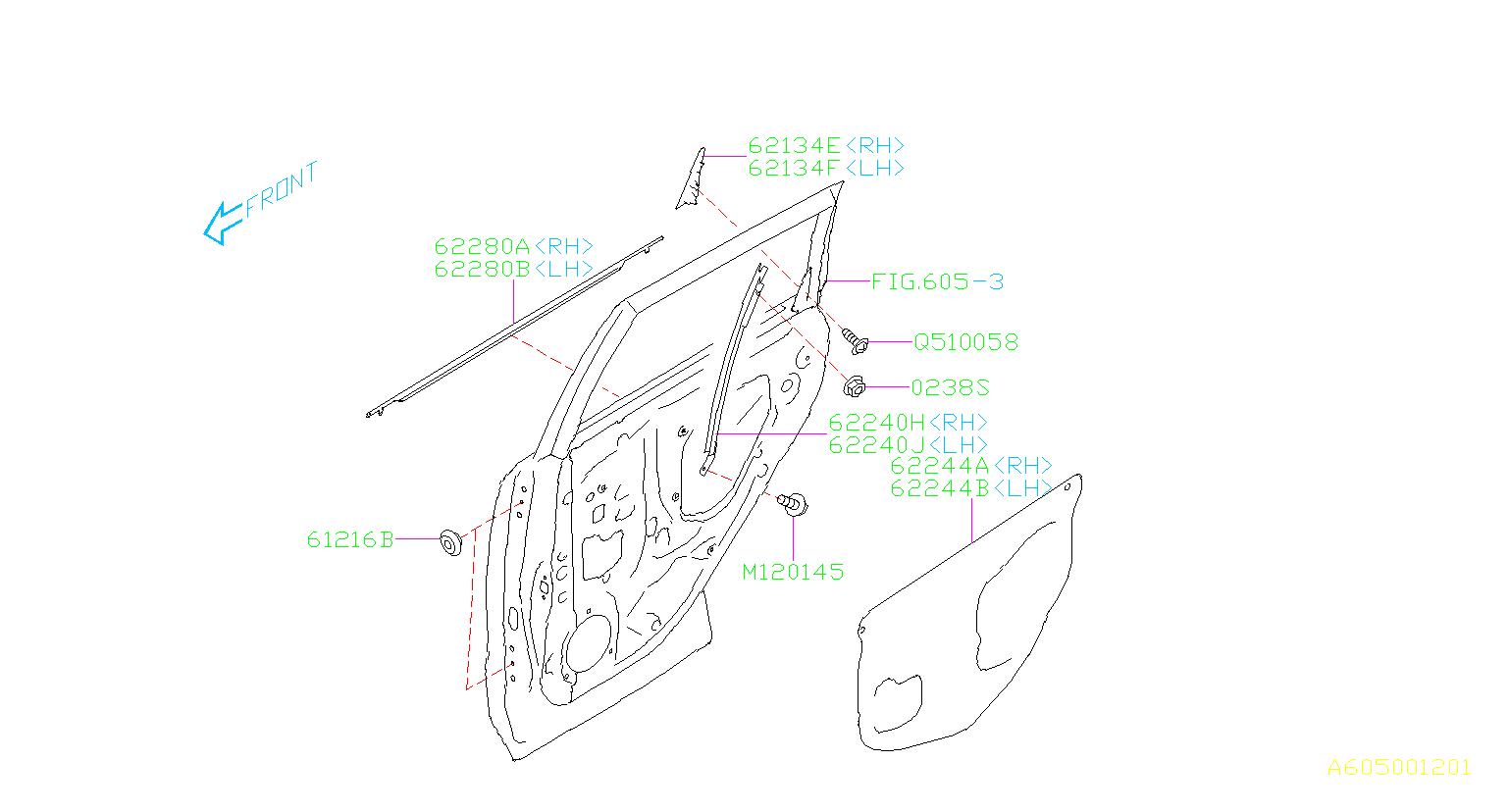 62280sg020 - Door Belt Molding  Right  Rear  Outer