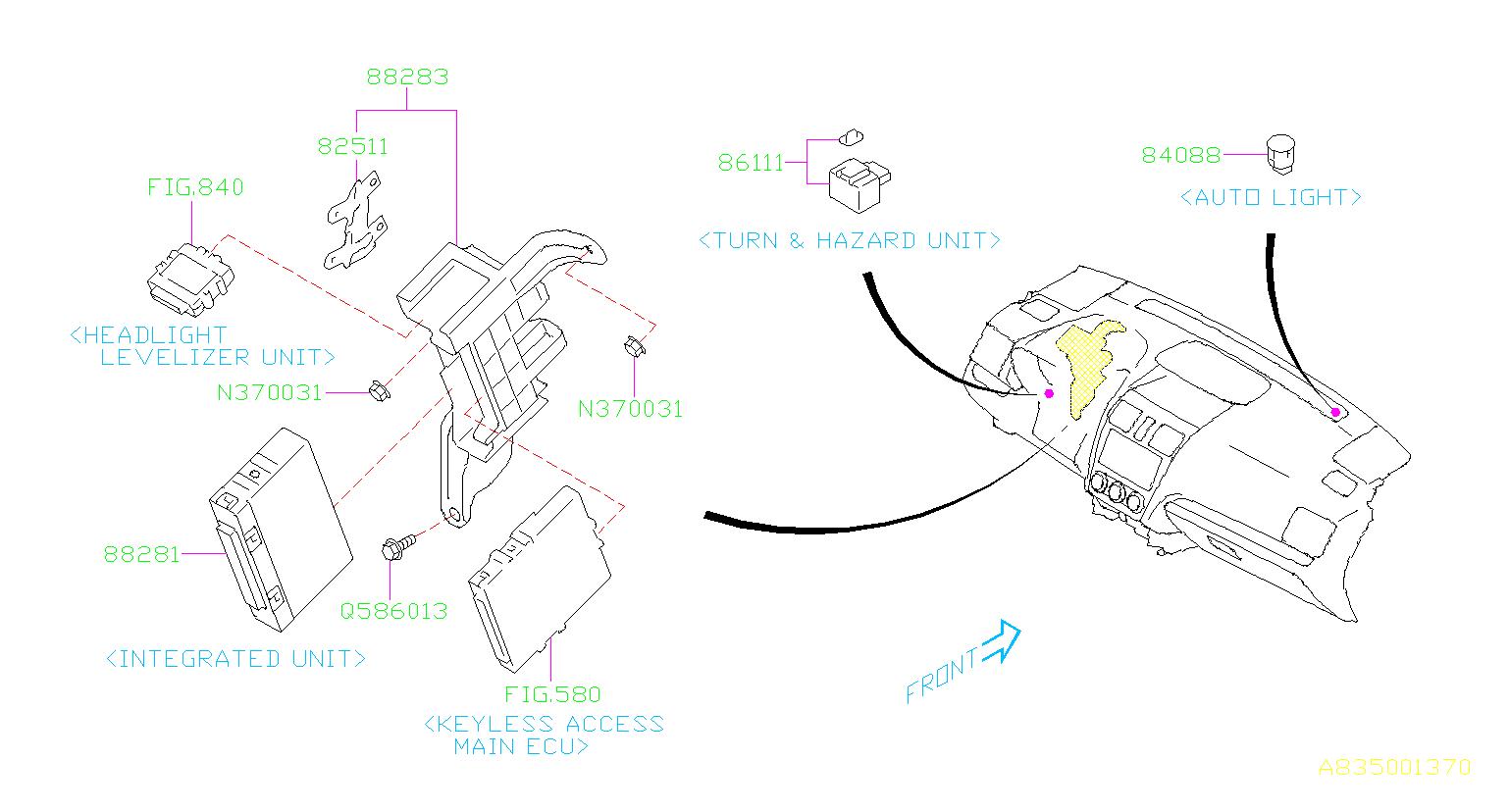 2017 Subaru Forester Ambient Light Sensor  Automatic Light