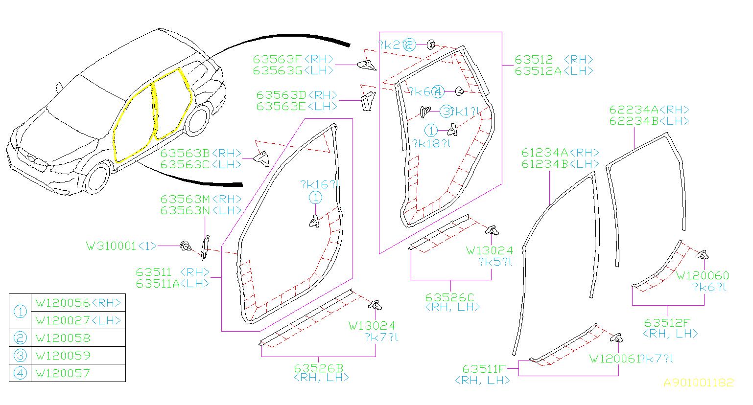 2014 Subaru Forester Clip Weatherstrip  Door  Body