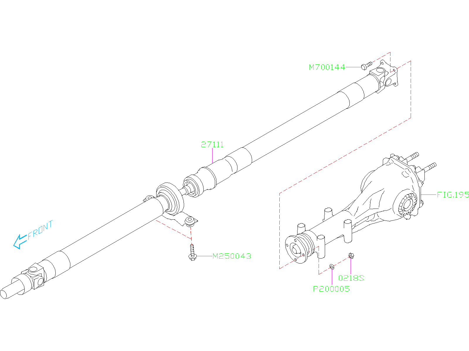 Diagram PROPELLER SHAFT. for your 2019 Subaru Forester