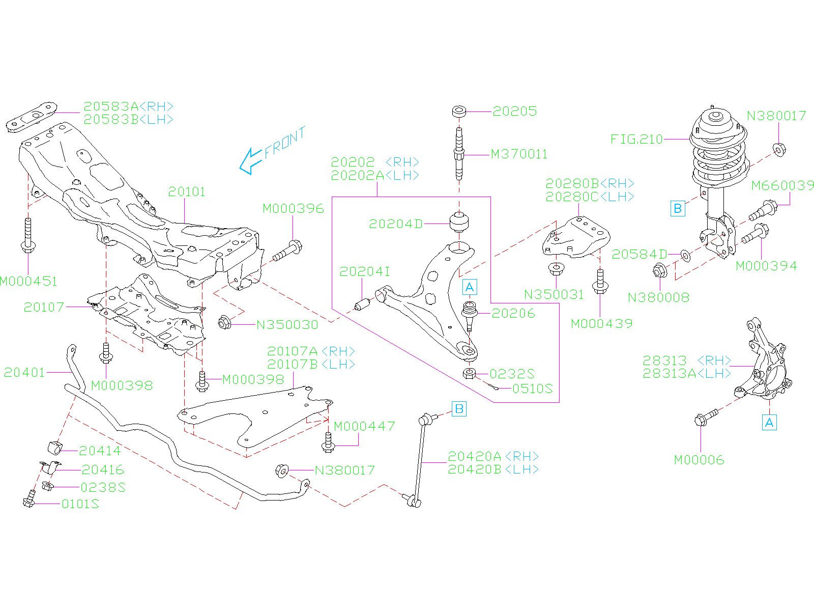 Diagram FRONT SUSPENSION. for your 2019 Subaru Forester 2.5L CVT Limited w/EyeSight