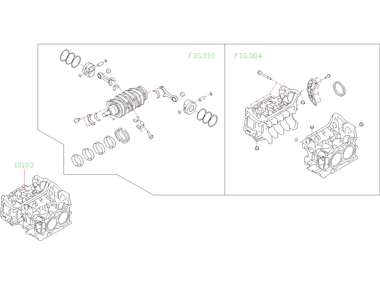 10103ac890 - short block engine assembly  seal  gasket