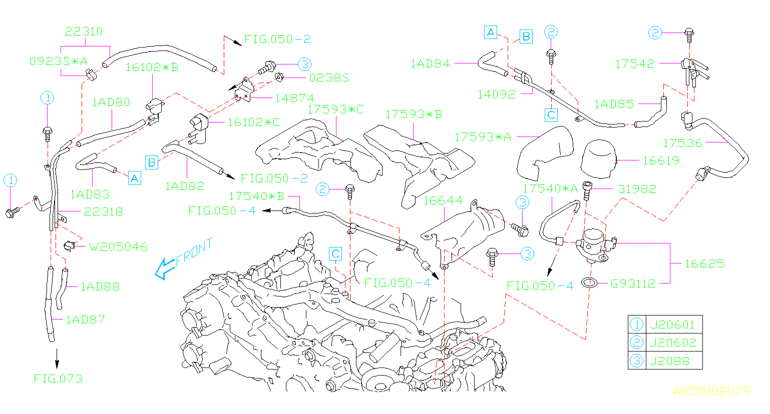 2016 Subaru Forester Hose-vacuum  Maintenance