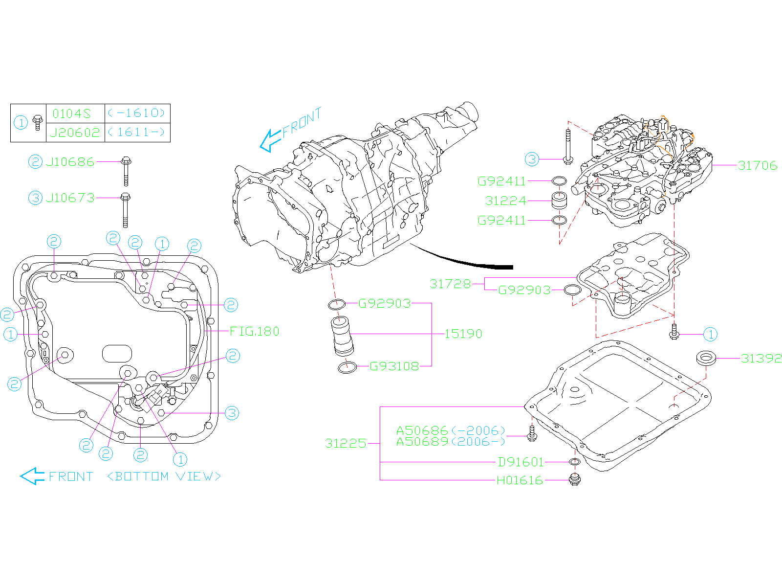 Diagram AT, CONTROL VALVE. for your Subaru
