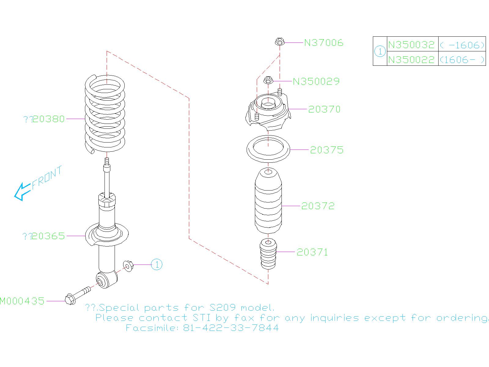 2016 subaru wrx shock absorber rear struts suspension. Black Bedroom Furniture Sets. Home Design Ideas