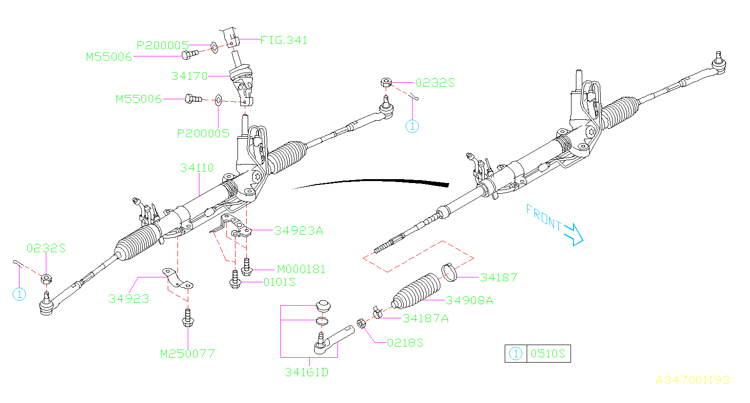 Diagram POWER STEERING GEAR BOX. FITTING. for your 2006 Subaru Tribeca 3.0L Base-M(7ST)